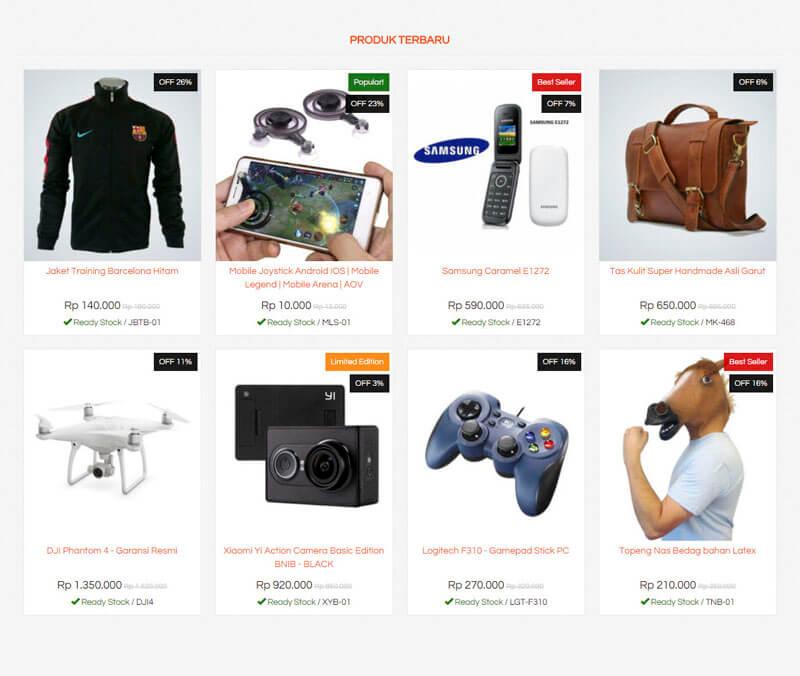 Daftar produk jasa pembuatan website toko online