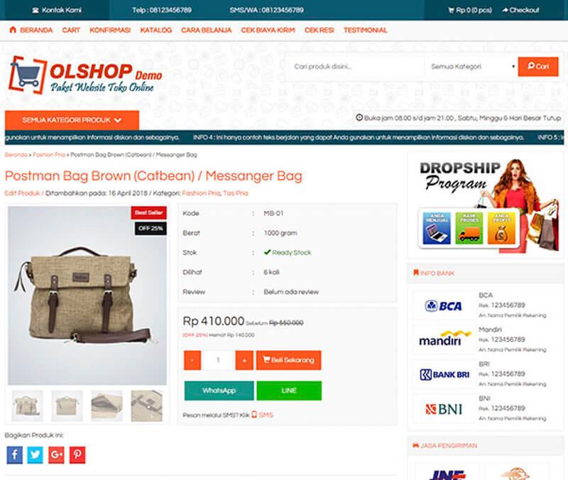 Halaman produk jasa pembuatan website toko online
